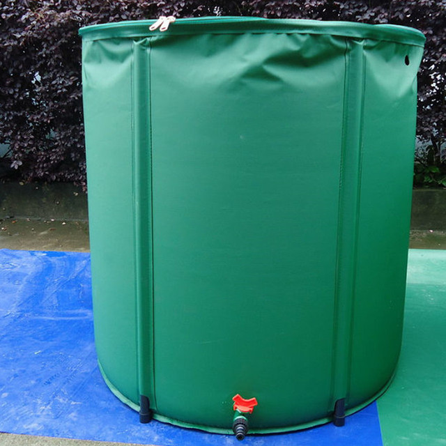 98L 50x50cm Water Barrel strong PVC tarpaulin collapsible water tank rain collector barrells water bag green color with 5 legs