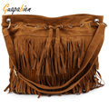 Guapabien 2016 Tassel Women Bucket Bag Solid Color String Closure Shoulder Bags Suede Ladies Big Capacity Messenger Handbags