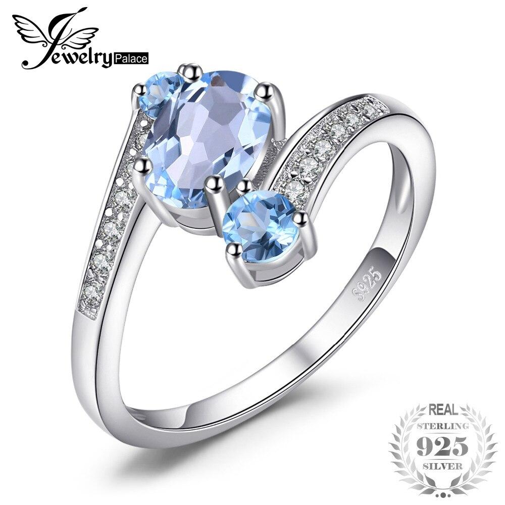 100% QualitäT Jewelrypalace 2.4ct Oval Natur Sky Blue Topaz Ring Solide 925 Sterling Silber Ringe Für Frauen Charms Mode Hochzeit Schmuck