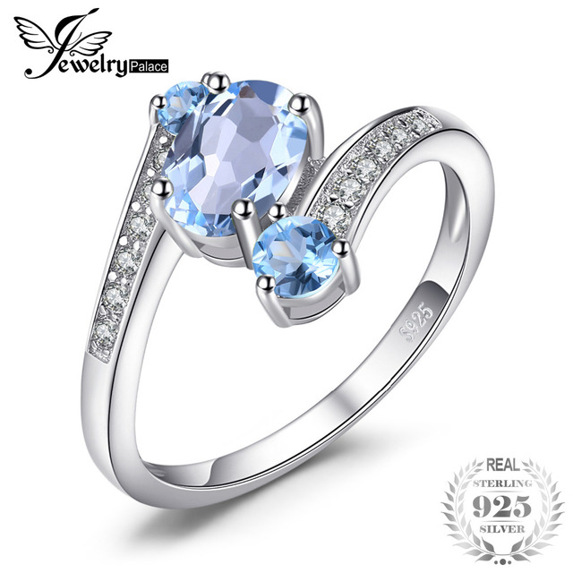 JewelryPalace 2.4ct Oval Natural Sky Blue Topaz Ring Solid 925 Sterling Silver R