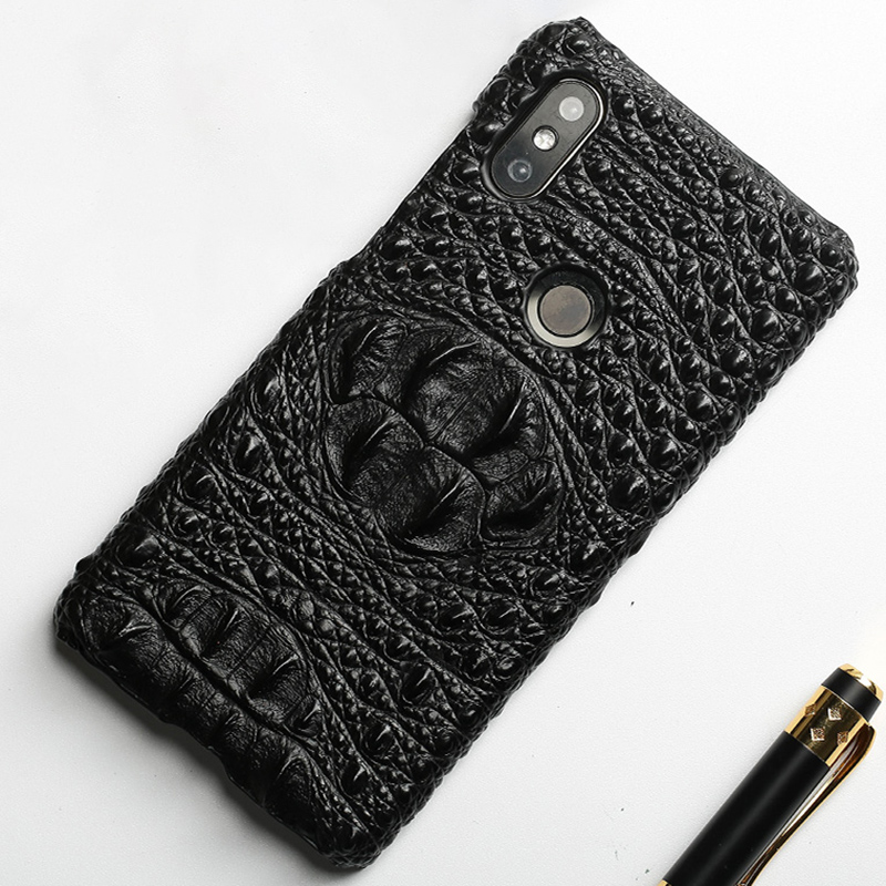 Original cowhide Phone Case For Xiaomi Mi Mix 2S 6 8 8SE A1 A2 Max 3 Crocodile skull texture For Redmi Note 5 Pro 4X 5 Plus 4A