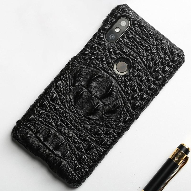 Original cowhide Phone Case For Xiaomi Mi Mix 2S 6 8 8SE A1 A2 Max 3 Crocodile skull texture For Redmi Note 5 Pro 4X 5 Plus 4A
