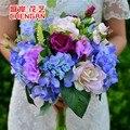 Rosas ramo de la boda artificial de seda de flores caen vivid fake hoja flor ramos de novia de la boda decoración ramo da sposa