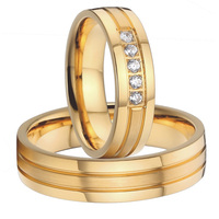 2015 classic new design titanium steel wedding bands promise anniversary rings sets for men and women gold color alliances