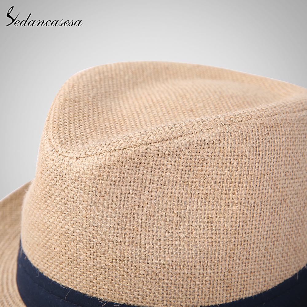 7edf4ffb2d0 Fashion men fedora straw hats for women man holiday beach summer sun hat  unisex linen trilby Caps Sombreros Hombre Verano cool-in Sun Hats from  Apparel ...