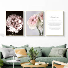 Pink Peony Rose Flower Woman Love Quotes Wall Art Canvas Painting Nordic Posters And Prints Pictures For Living Room Decor