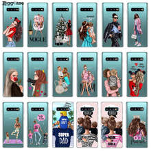 For Samsung Galaxy S10 Plus 5G S10E S10+ M10 M20 Fashion Black Brown Hair Baby Mom Girl Queen 01 Case Silicone Woman Phone Cover(China)