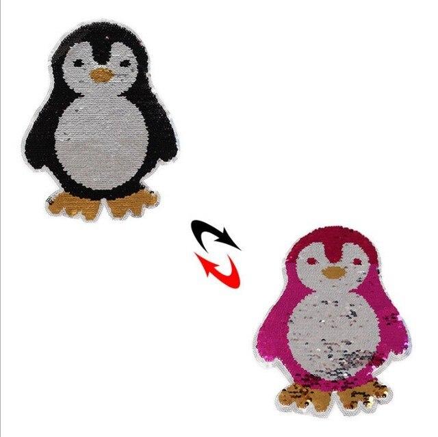 Nueva pingüino lindo cambio reversible color Lentejuelas coser ...