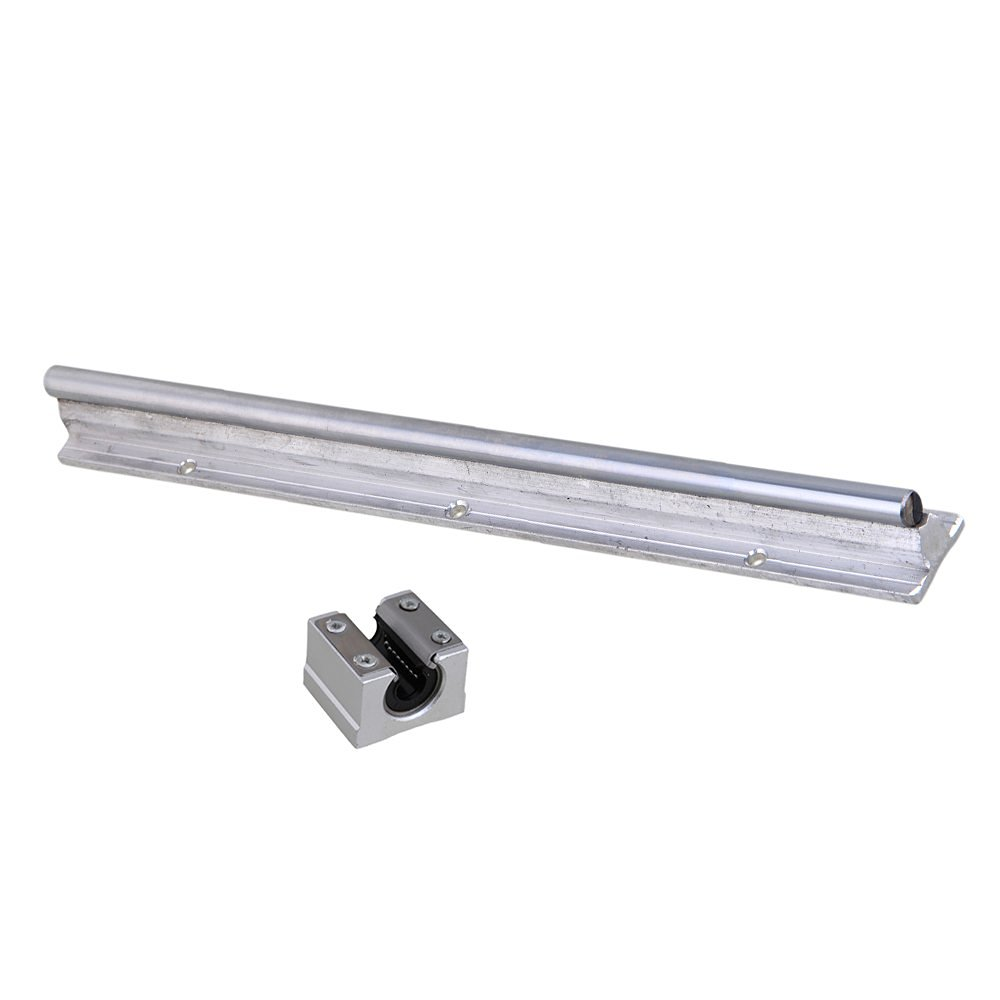 Silver Open Roller Bearing Slide Block & L300mm SBR10 Linear Bearing Rail Guide with 10mm Dia Shaft for CNC Machine Set of 2 silver open roller bearing slide block