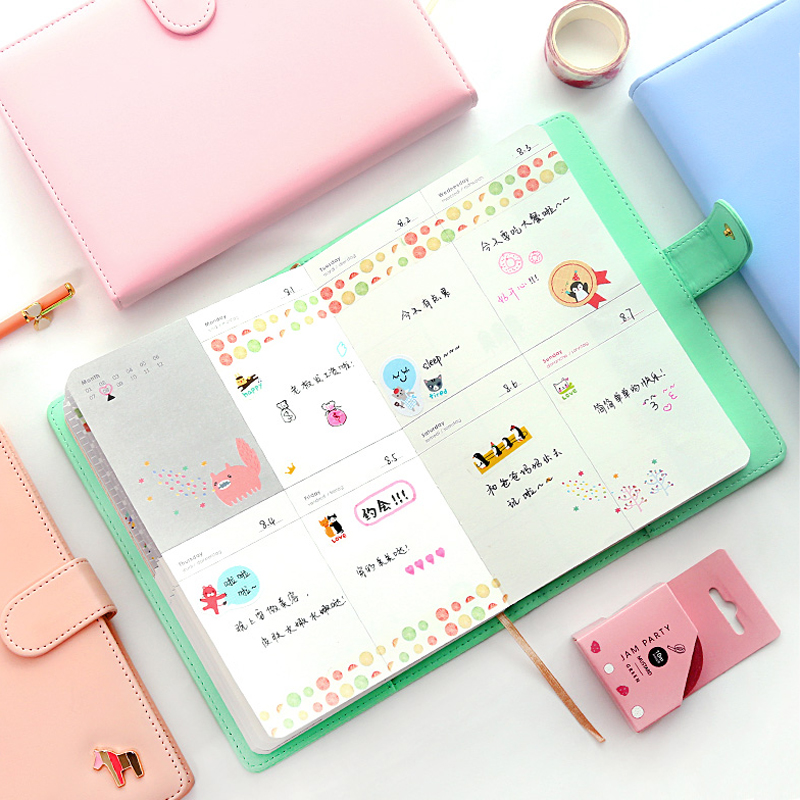 New Arrival Weekly Planner Sweet Notebook No Year Limit Creative Student Schedule Diary Book Color Pages School Supplies 1pc creative cute cartoon animal planner notebook diary book wooden school supplies student gift