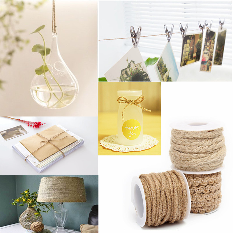 1 Roll 5M Natural Hessian Jute Twine Rope Burlap Ribbon til DIY Craft Vintage Bryllupsfest Fødselsdag Decor VBT84 P20
