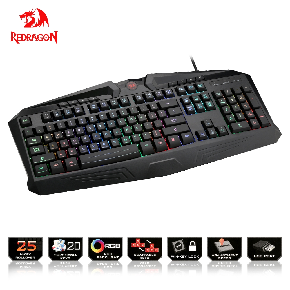 Redragon USB gaming Membrane keyboard ergonomic RGB color LED backlit keys Full key anti-ghosting 104 wired PC Computer gamer ноутбук hp pavilion 15 cb009ur 15 6 1920x1080 intel core i7 7700hq 1 tb 8gb nvidia geforce gtx 1050 4096 мб черный windows 10 home 1za83ea