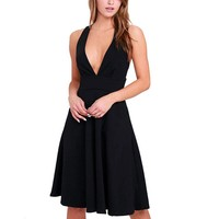 WEIXINBUY Women Fit and Flare Black Saolid Dress Deep V Neck Sleeveless Bandage Vestidos Summer Party Dresses