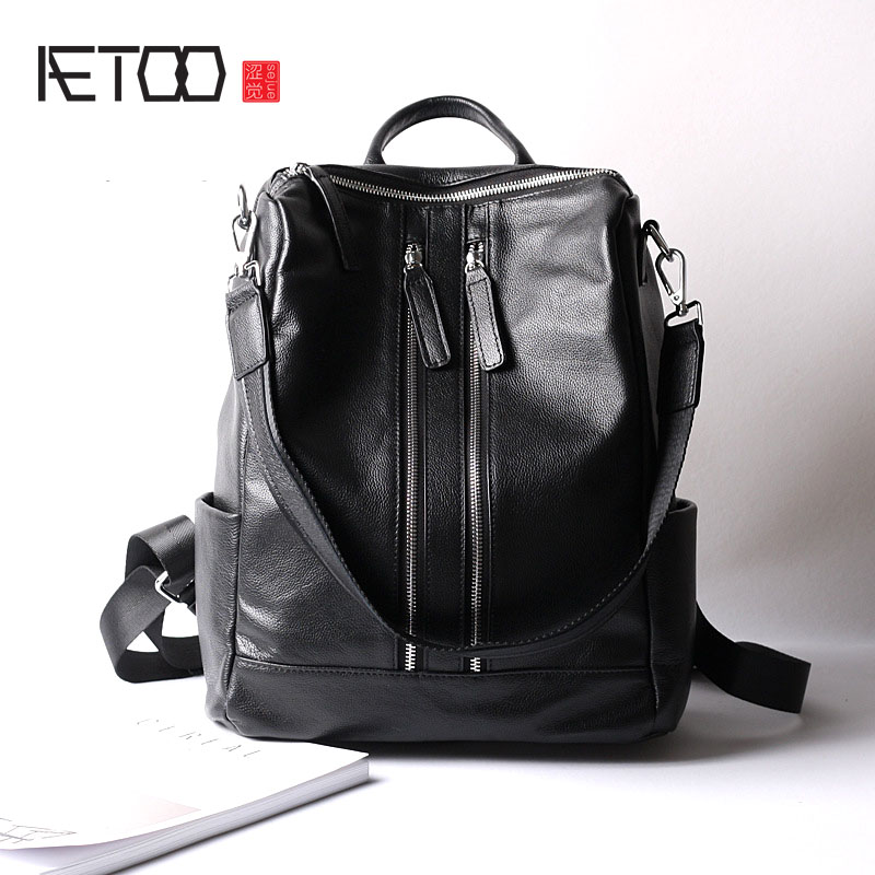 AETOO Leather shoulder bag  European and American fashion backpack head layer of leather
