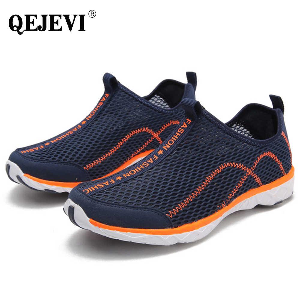 55fdd93e70a07 2018 QEJEVI Water Sport MEN Aqua Shoes Barefoot Summer Upstream Outdoor Sneakers  Beach Shoes Mesh Quick