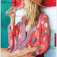 M H Artemis Boho Print Chiffon Blouse Boho Chic V Neck Loose Long Sleeve Ribbon Autumn