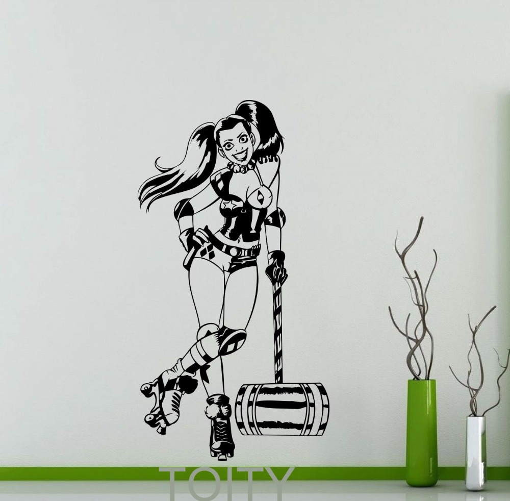 Harley quinn wall decal roller derby dc marvel comics superhero harley quinn wall decal roller derby dc marvel comics superhero vinyl sticker home interior decor teen room cool art mural in wall stickers from home amipublicfo Image collections