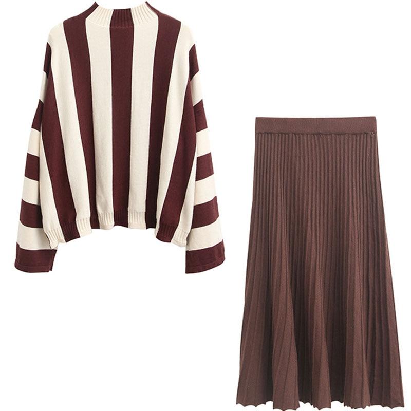 Plissée And Décontracté Roulé Fille Col Style Sweater Et Chandail Mori Vintage Ruches Rayé Brun Skirt Jupe Tricoté Ensembles Femmes Coton z6Uaw