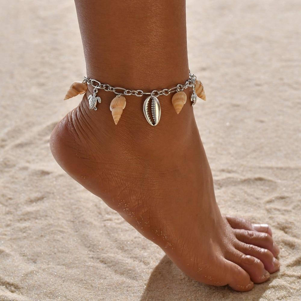 2019 Fashion Boho Beach Wave Shell Anklets Set For Women 2018 Shell Anklet Bracelets On The Leg Bohemian Foot Ocean Jewelry Gift