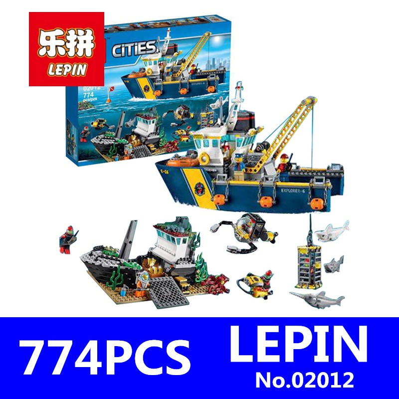 City Series LEPIN 02012 Deepwater Exploration Vessel Children Educational Building Blocks Bricks Toys Model Funny Boy Gift 60095 lepin 02012 774pcs city series deepwater exploration vessel children educational building blocks bricks toys model gift 60095