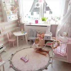 Baumwolle Baby Spielen Matte Runde Teppich mit Kugeln Um Kinder Spielzeug Baby Fotografie Requisiten Nordic Stil Kinder Zimmer Dekoration 120 cm
