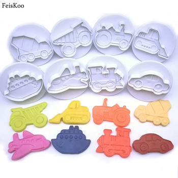 Hot 8pcs 3D Car Plane Train Vehicle Cookie Cutter Biscuit Mold Baking Hand Stamp Press Plunger Sugarcraft Cookie Fondant Cutters