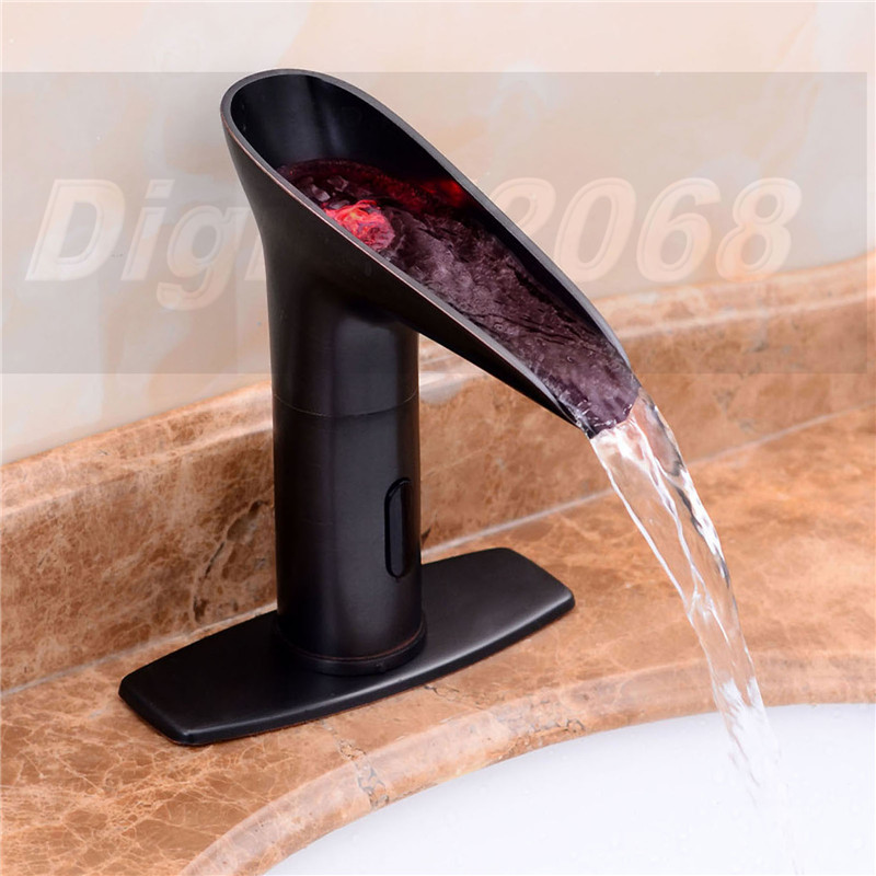 Led light touchless sensor waterfall bathroom sink vessel - Bathroom faucets with led lights ...