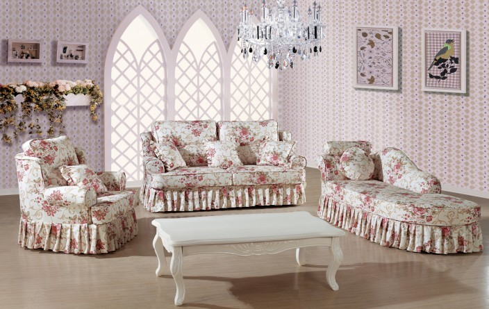 modern italian living room funiture for flower pattern and blue color sofa set with chaise lounge chair sofa - Lounge Chairs For Living Room