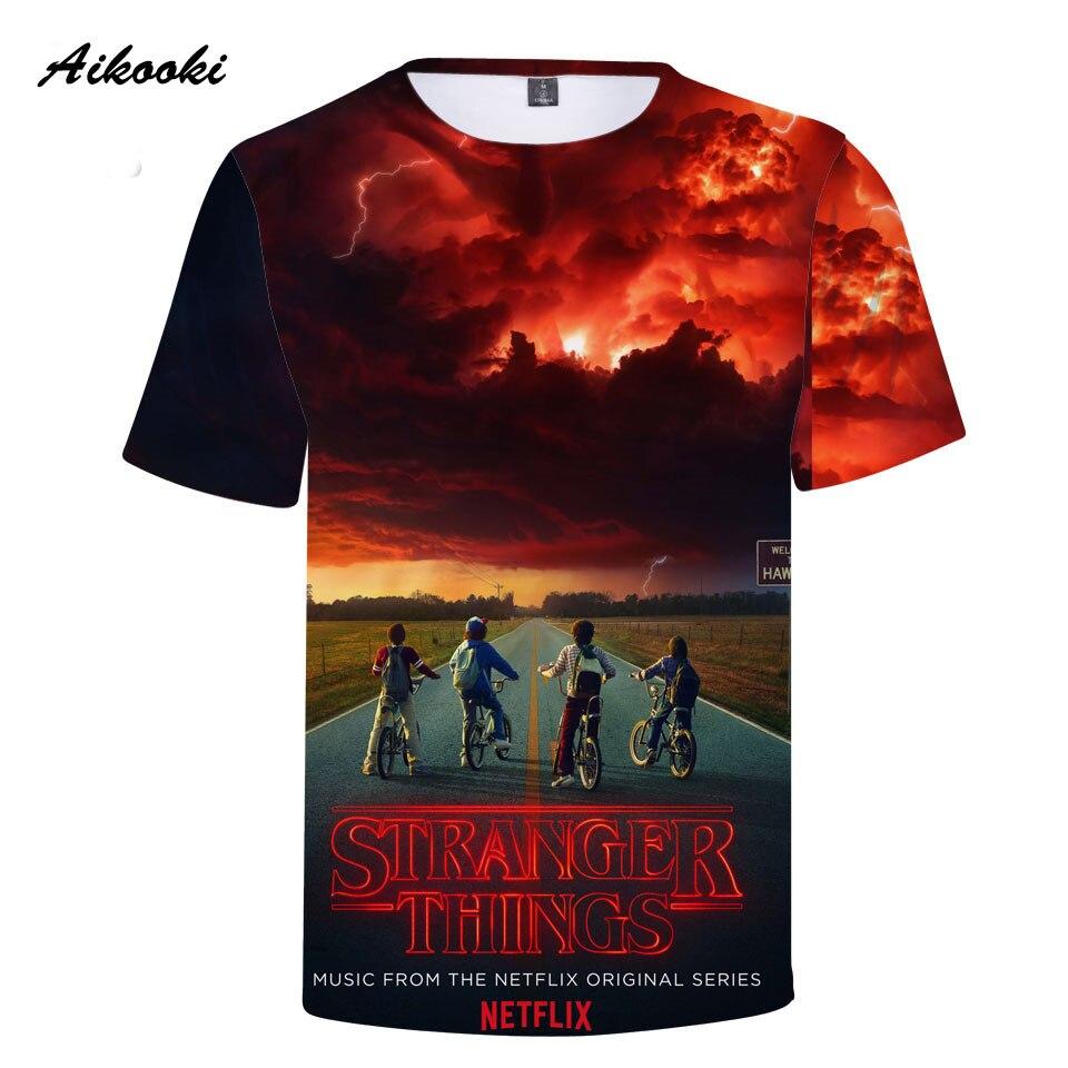 837a413cf Aikooki stranger things 3D t shirt summer stranger thing tshirt gray design  t shirt men hip hop stranger things t shirt 3D top-in T-Shirts from Men's  ...