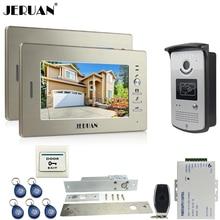 """JERUAN two 7""""monitors LCD Video Intercom Video Door Phone Handsfree+access control system+700TVL Camera+Electric Drop Bolt lock"""