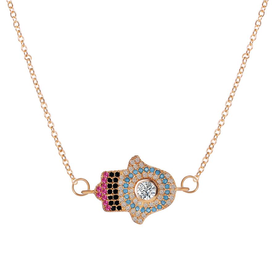 Turkish Crystal zircon Evil Eye Hand Hamsa Pendant chain Necklace Women Silver Gold Color Jewelry Clavicle Link Chain necklaces