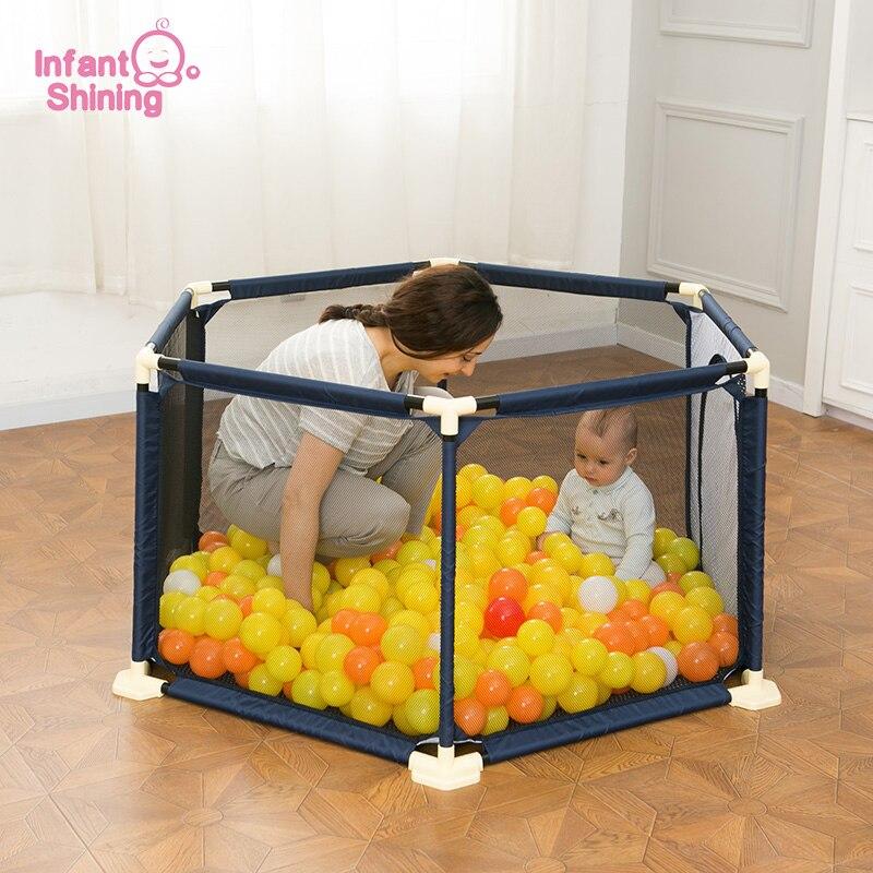 Shining dla niemowląt dziecko kojec dziecko ogrodzenia bezpieczeństwa kojec gry kryty ogrodzenia dla dzieci przenośne składane dziecko kojec basen z piłeczkami w Namioty do zabaw od Zabawki i hobby na  Grupa 1