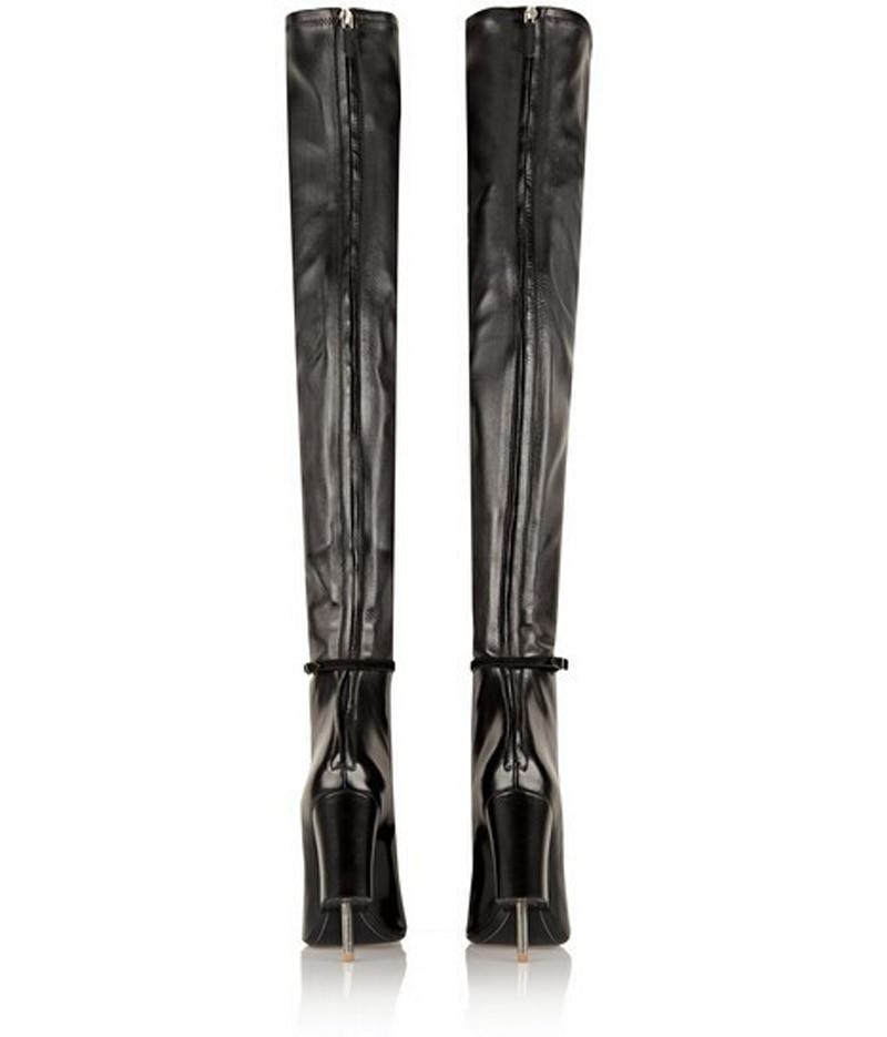 Gladiateur Genou Sur Ouvert Bottes Stiletto Cut De Femmes Cuir Étrange En Unique Mode Long Design out À Noir Bout Talon Zvc6aCPc