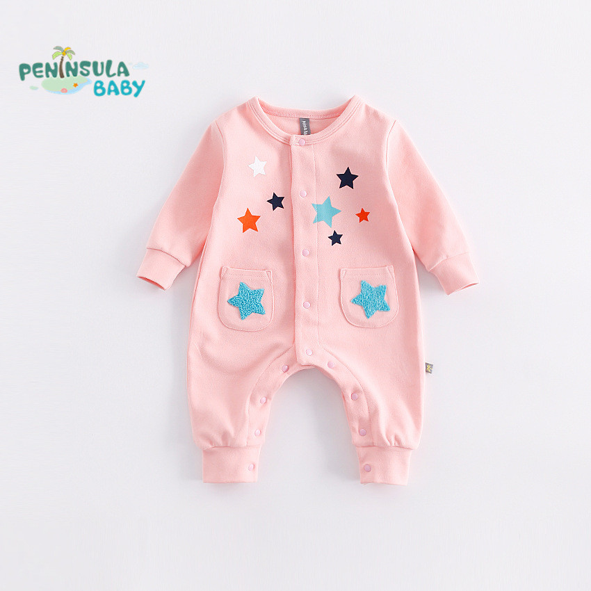 Christmas Newborn Baby Rompers Autumn Winter Baby Boy Clothes Jumpsuit Baby Boy Girl Costume Infant Long Sleeve Romper Stars baby rompers 2016 newborn body baby boy girl clothes jumpsuit long sleeve infant onesie product turn down collar romper costumes