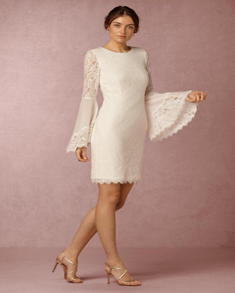 Fashion lace short wedding dress 2016 appliques flare for Short flared wedding dress