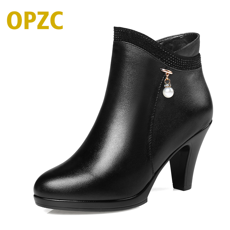 OPZC High Quality Women Shoes Genuine Leather Women Boots thick heel zipper Shoes Wool Ankle boots fashion casual ankle boots high quality genuine leather women shoes fashion female casual shoes heart