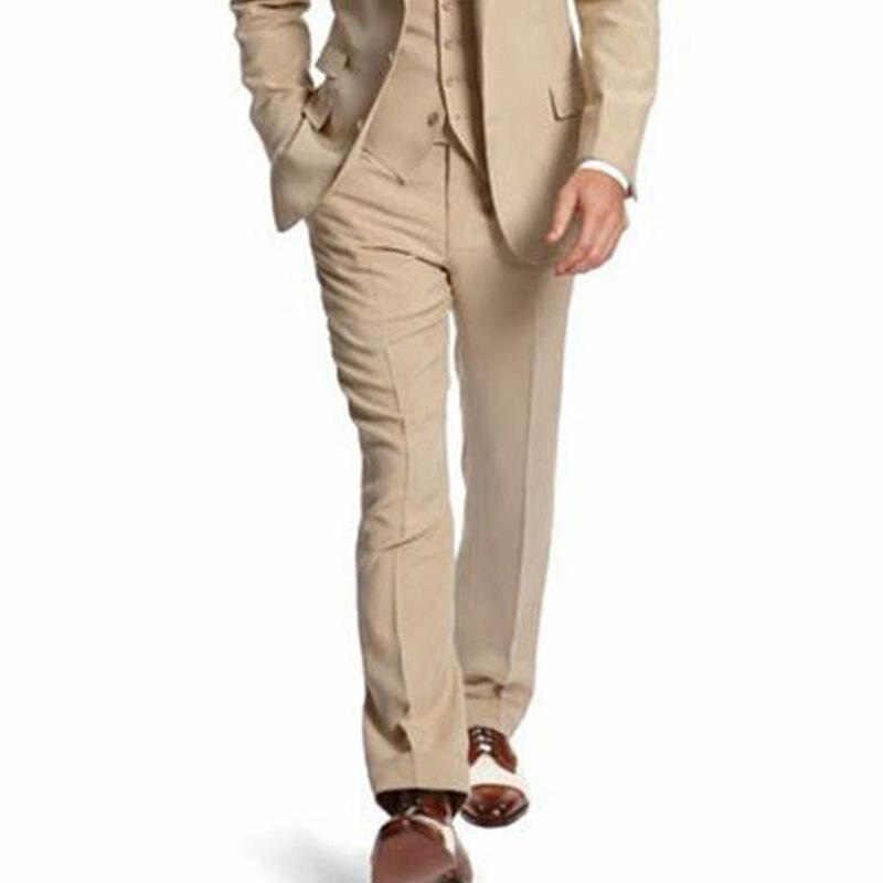 ベージュ 3 点ビジネスパーティー男性は 2 ボタンカスタムメイドのウェディング新郎タキシード 2019 ジャケットパンツベスト