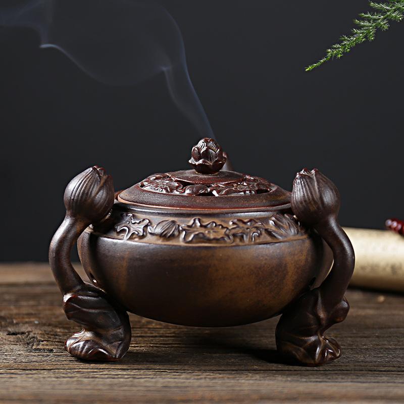 Encens rétro brûleur Lotus Lion motif décor à la maison Antique cuivre bâton titulaire parfum de maison pour salon et bureau à domicile