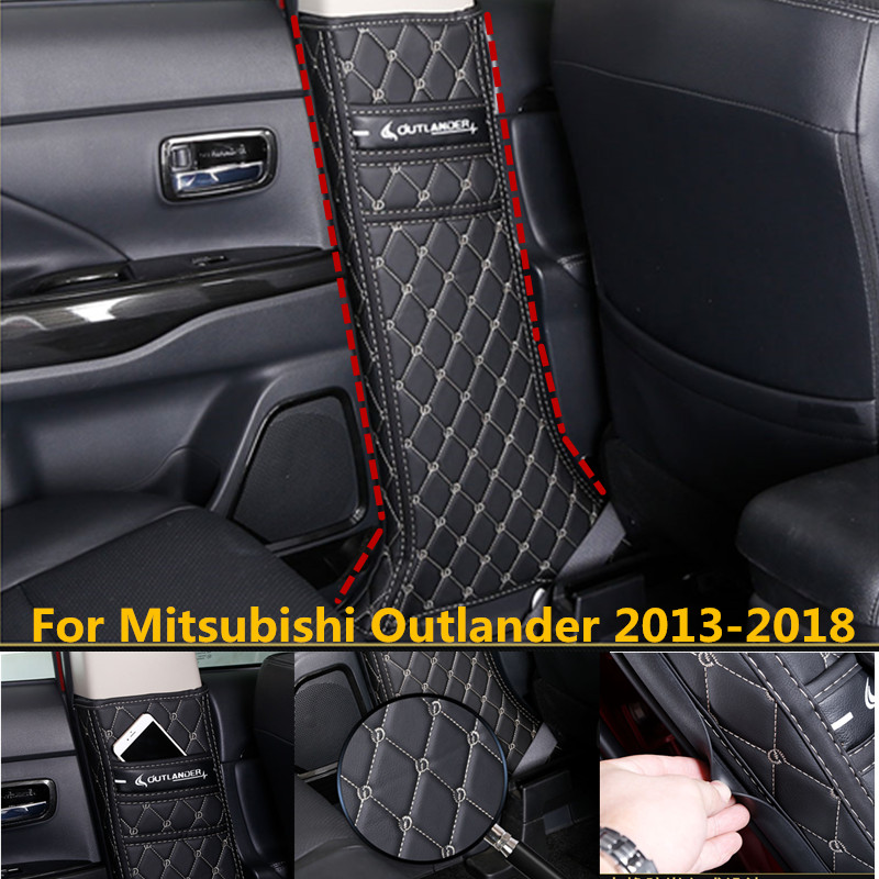 Car shaped microfiber leather anti kick plate anti play mat For Mitsubishi Outlander 2013 2018 Car covers|Chromium Styling|   - title=