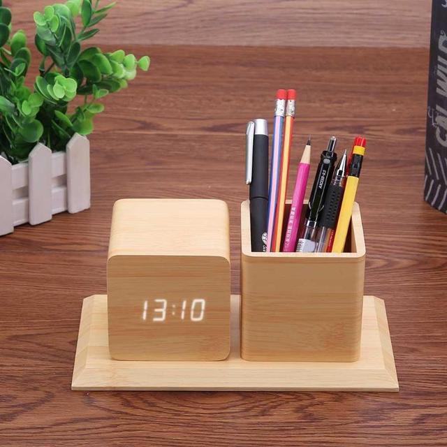 Wood Color Smart Electronic LED Sound Control Alarm Clock Calendar  Temperature Display Pencil Pen Holder Office