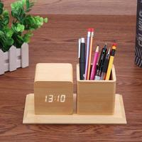 Wood Color Smart Electronic LED Sound Control Alarm Clock Calendar Temperature Display Pencil Pen Holder Office Desk Organizer