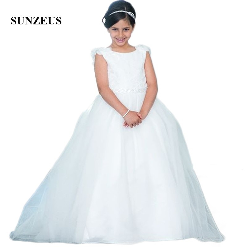 Princess Ball Gown Ivory   Flower     Girls     Dresses   Scoop Beaded Handmade   Flowers   Charming   Girls   Pageant Party   Dresses   Backless SF49