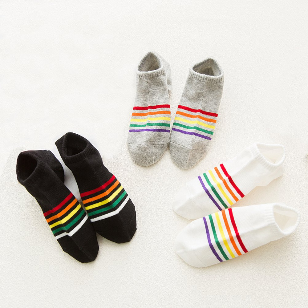 6 Pairs Womans Socks female girls rainbow colorful cute Socks invisible woman popsoker summer cotton hiphop short ankle socks