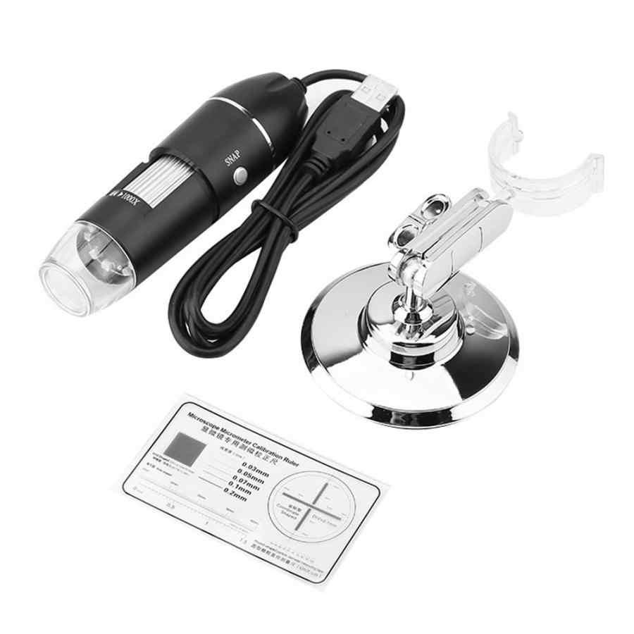 กล้องจุลทรรศน์ LED 50X-500X 0.3MP USB แว่นขยายสำหรับโทรศัพท์มือถือกับผู้ถือ