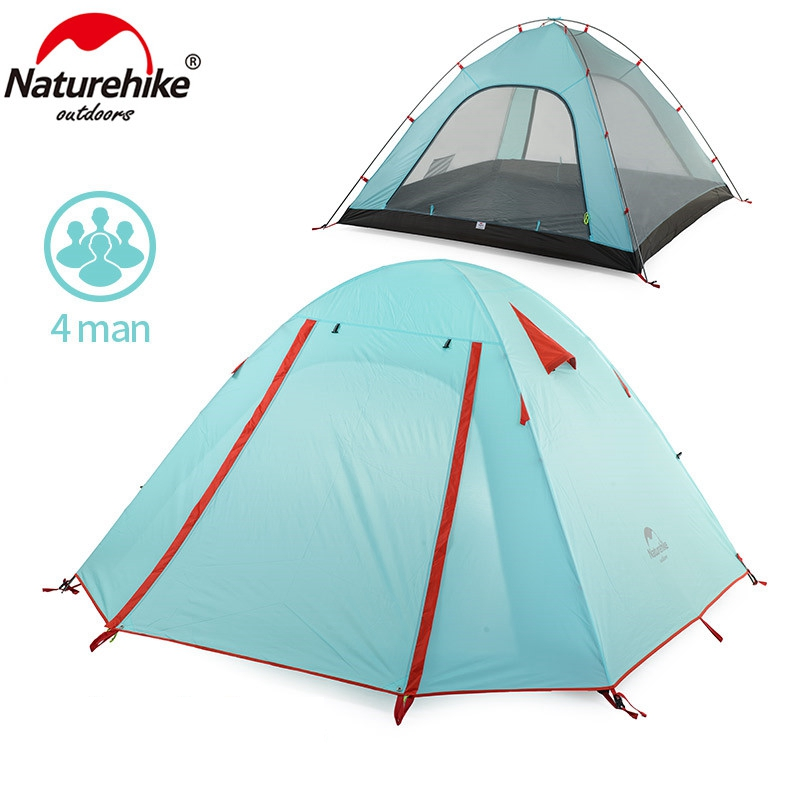 NatureHike 4 Person C&ing Tent Double Layers Aluminum Rod 3 Season Outdoor Hiking Travel Play Tent Rainproof NH15Z003 P-in Tents from Sports ...  sc 1 st  AliExpress.com & NatureHike 4 Person Camping Tent Double Layers Aluminum Rod 3 ...