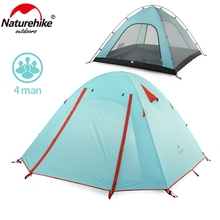 NatureHike 4 Person Camping Tent Double Layers Aluminum Rod 3 Season Outdoor Hiking Travel Play Tent Rainproof NH15Z003-P
