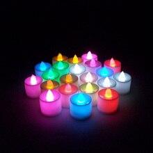 купить!  24шт плавающие беспламенные светодиодные свечи для свадебного украшения лампы MDP66