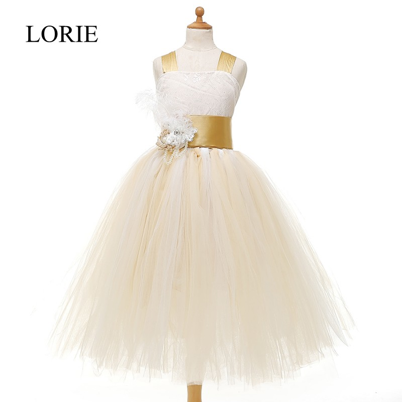 Lovely Light Champagne   Flower     Girls     Dresses   For Weddings 2016 Party Pageant   Dresses   First Communion   Dresses   For   Girls   With Bow