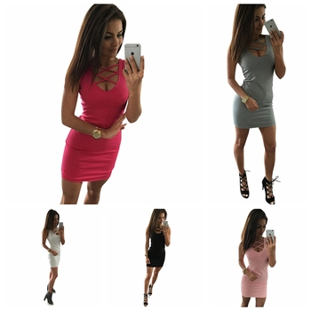 2020 Summer Sexy Slim Women Dress Solid Color U-neck Cross-belt Dress Sleeveless Plus Size Package Hip Dress 2