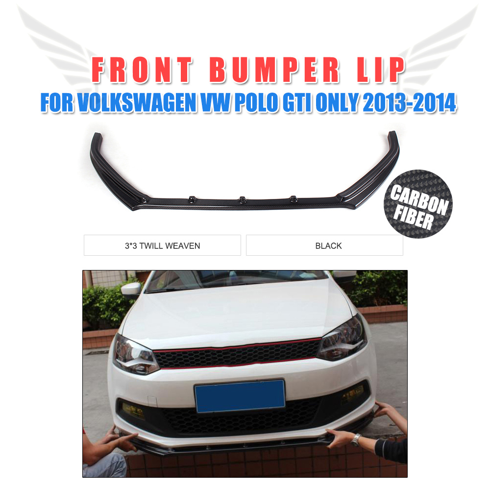 Carbon Fiber Front Lip Chin Spoiler Apron Fit for Volkswagen VW Polo GTI Hatchback  2013-2014 Car Styling